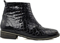 MELTEM-BLACK CROC PATENT-boots-Traffic Footwear