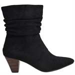 CARLYLE-BLACK FAUX SUEDE-heels-Traffic Footwear