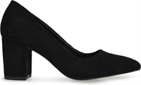 SELESTE-BLACK FAUX SUEDE-heels-Traffic Footwear
