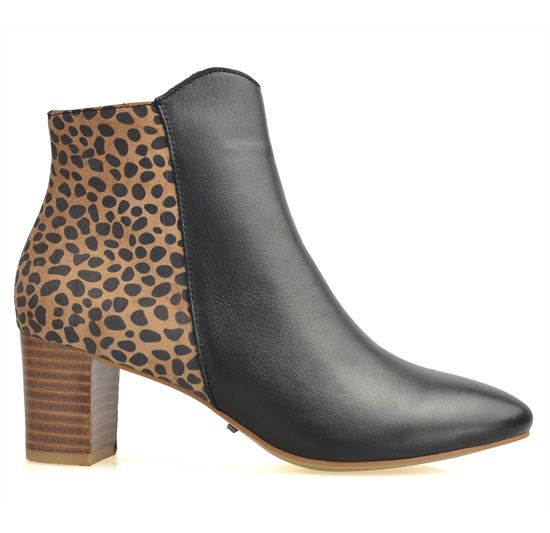 BERTRAM-BLACK BROWN ANIMAL PRINT LEATHER